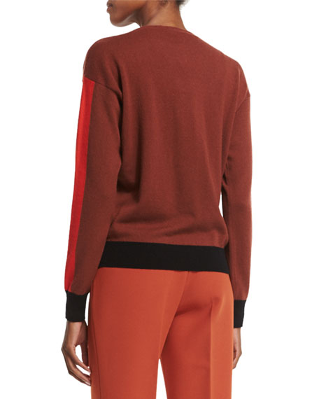 Bottega Veneta Long-Sleeve Cashmere Sweater, Red/Multi