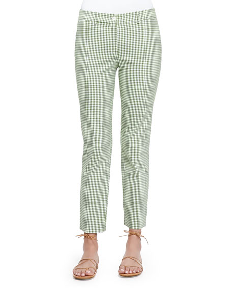 Michael Kors Collection Gingham Check Ankle Pants, Lawn