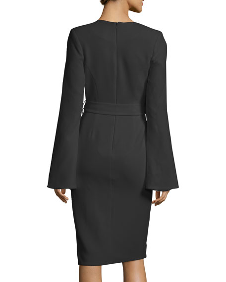 Crepe Long-Sleeve Belted Dress