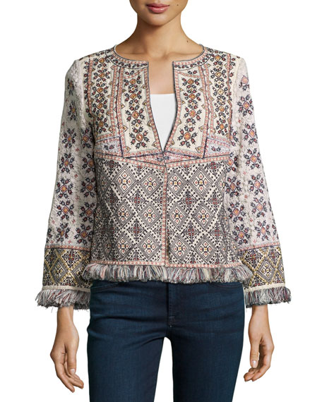 Bernati Embroidered Fringed Jacket