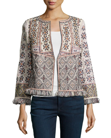 Calypso St Barth Bernati Embroidered Fringed Jacket