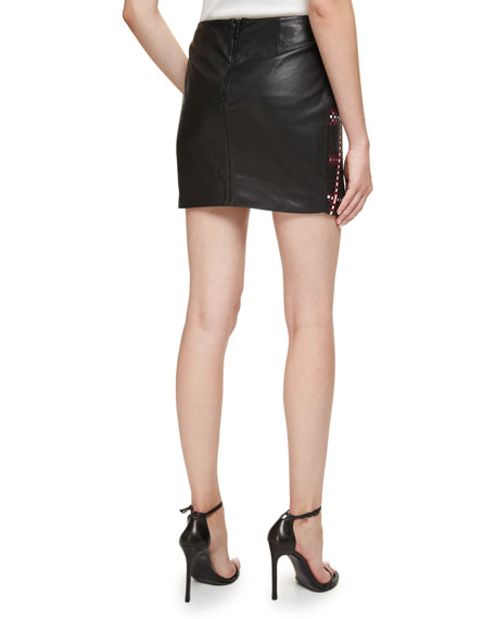 Santa Fe Woven Leather Mini Skirt w/Fringe, Black