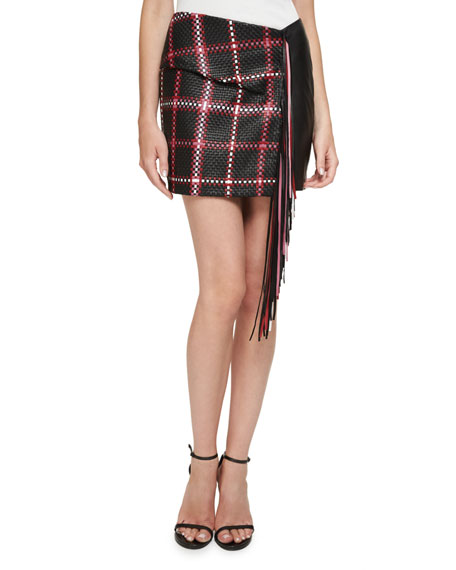 Magda Butrym Santa Fe Woven Leather Mini Skirt