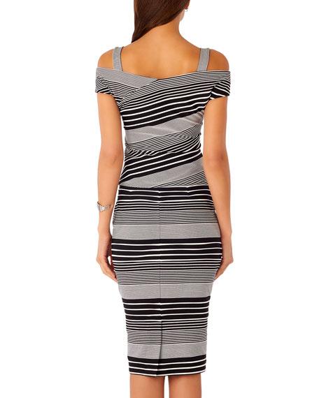 Striped Midi Pencil Skirt, Black/White