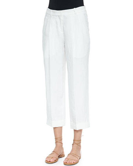 Michael Kors Collection Cashmere-Blend Ankle Pants, Optic White