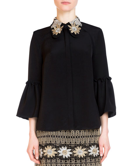 Erdem Alita Embroidered 3/4-Sleeve Top, Gold/Silver