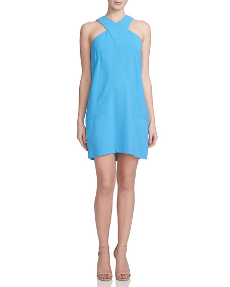 Cynthia Steffe Sleeveless Crisscross Halter Shift Dress