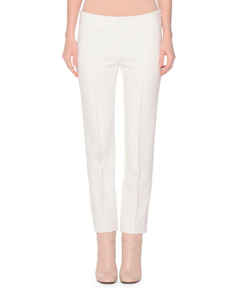 Agnona Slim-Fit Stretch-Wool Pants, Ivory