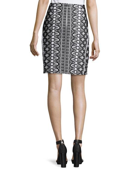 kobi halperin patrice embroidered print pencil skirt