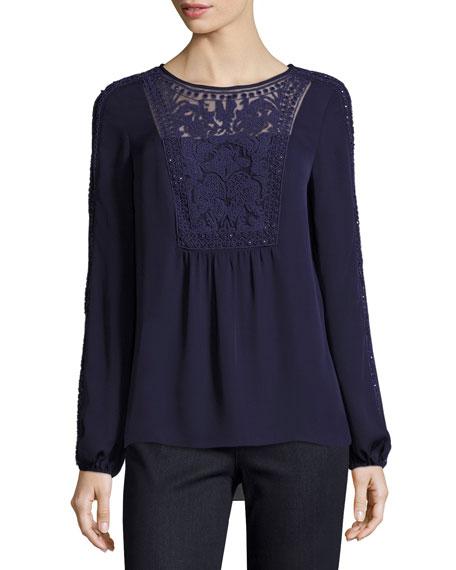 Franca Long-Sleeve Beaded Silk Blouse, Deep Amethyst