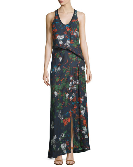 Cedric Charlier Sleeveless Floral-Print Silk Maxi Dress, Fantasia