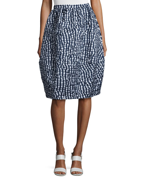 Banded Gingham Dance Skirt, Indigo/White