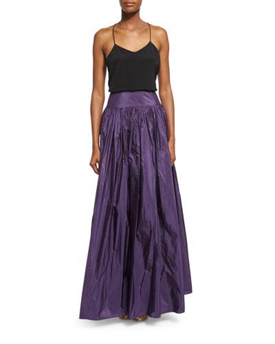 High-Waist Full Skirt, Blackberry