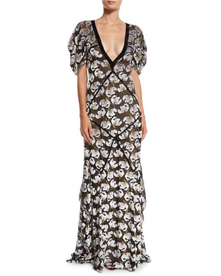 Erdem Charlotte Plunging Velvet Jacquard Gown, Black/Ecu