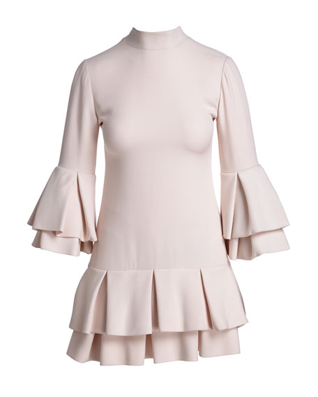 Ruffled-Trim 3/4-Sleeve Mini Dress, Light Pink