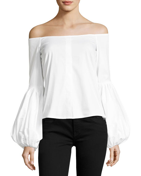 Caroline Constas Giselle Off-the-Shoulder Poplin Blouse