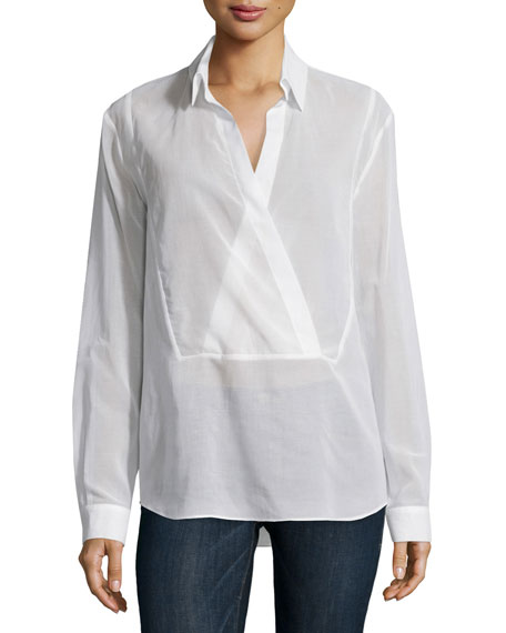 Michael Kors Long-Sleeve Wrap-Placket Blouse, Optic White