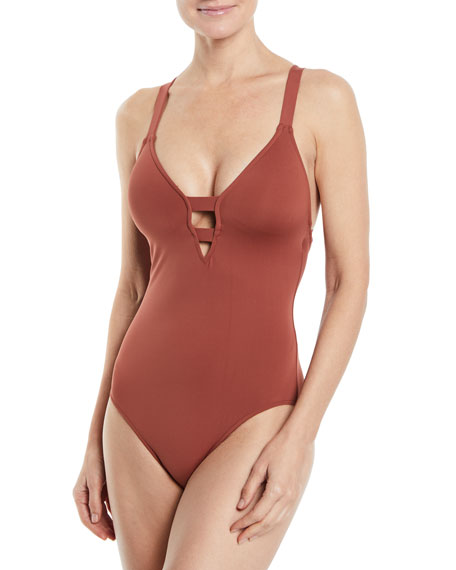 Seafolly Active Deep V-Neck One-Piece Swimsuit