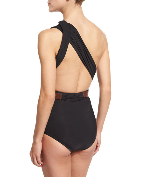 One-Shoulder Wrap One-Piece Swimsuit with Belt
