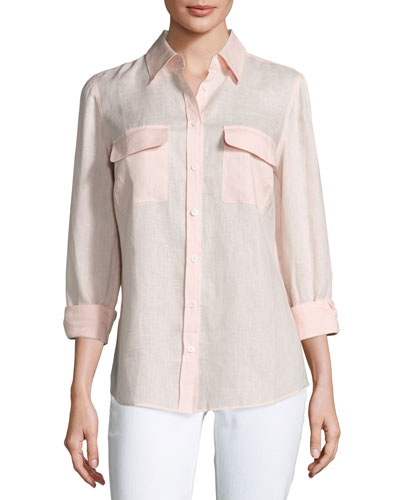 Petite Long-Sleeve Button-Front Linen Top
