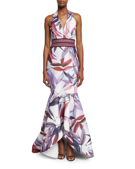 Badgley Mischka Leaf-Printed Macrame Mermaid Dress, Ivory/Multi