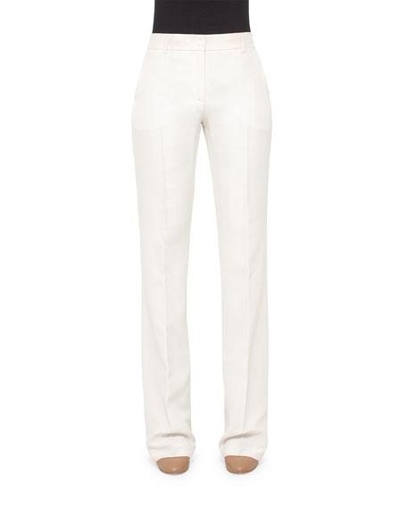 Akris Mid-Rise Boot-Cut Pants, Pelican