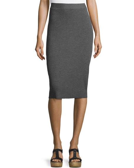 Washable Wool Ribbed Pencil Skirt, Black