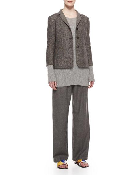 Pleated-Front Wide-Leg Birdseye Pants, Gray Melange