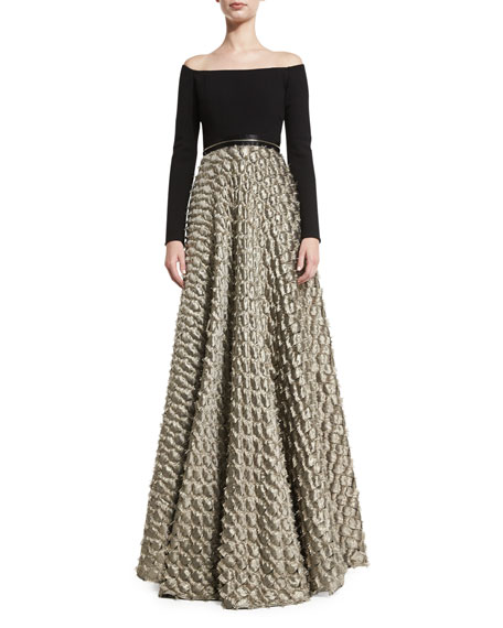 Carmen Marc Valvo Off-the-Shoulder Jersey & Satin Jacquard