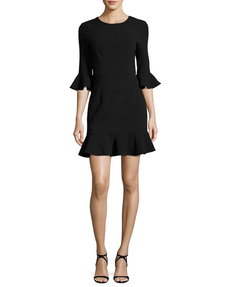 Black Halo Bell-Sleeve Flounce Dress