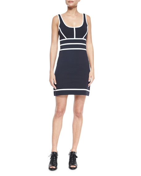 Sleeveless Two-Tone Della Dress, Midnight