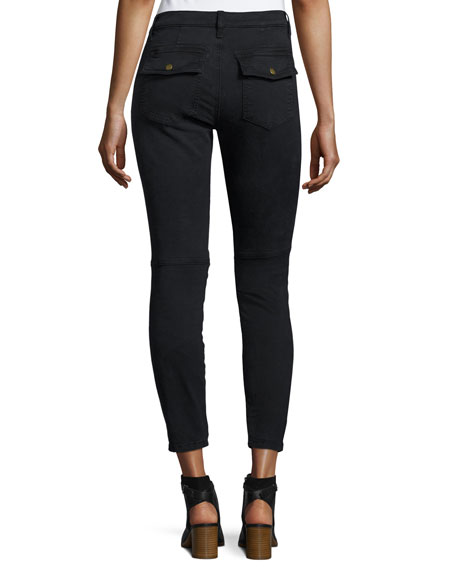 The Station Agent Cropped Skinny Jeans, Washed Black