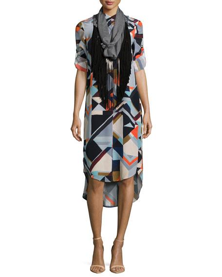 Geometric-Print Silk Shirtdress