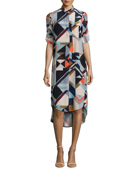Geometric-Print Silk Shirtdress