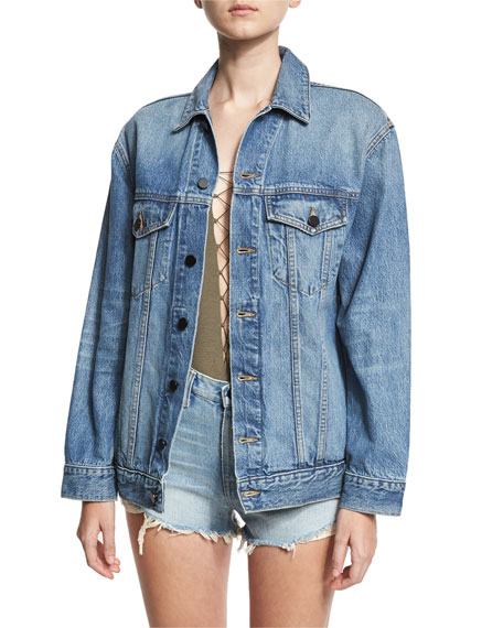 Daze Oversized Denim Jacket, Light Blue