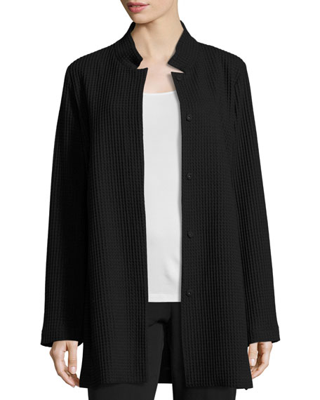 Stand-Collar Gridded Topper Jacket, Black, Petite