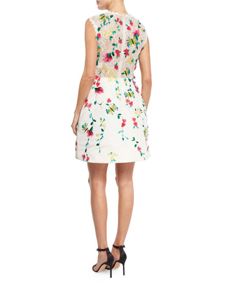 Sleeveless Floral-Lace Cocktail Dress, White/Multi