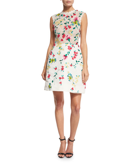 Monique Lhuillier Strapless Floral-Lace Cocktail Dress, White/Multi