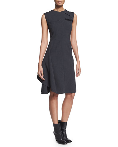 Sleeveless Ruffled Work Dress, Medium Gray