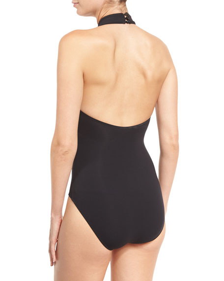 Black Diamond High-Neck One-Piece Swimsuit