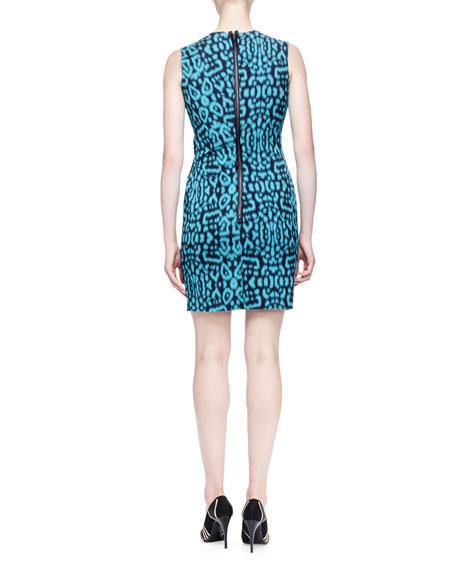 Panther-Print Side-Draped Dress