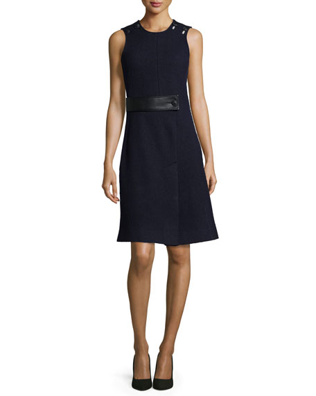 Cedric Charlier Sleeveless Dress w/Faux-Leather Trim, Dark Navy