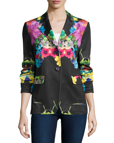 Petite Flower Pop Two-Button Jacket