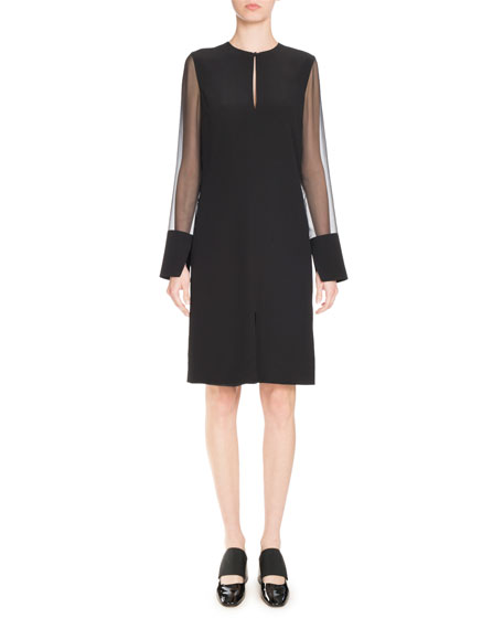 Givenchy Crepe Dress with Chiffon Sleeves, Black