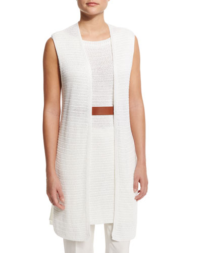 Open-Front Long Vest, Optical White