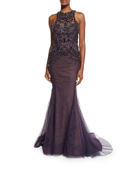 Marchesa Sleeveless Crystal Mermaid Gown, Aubergine