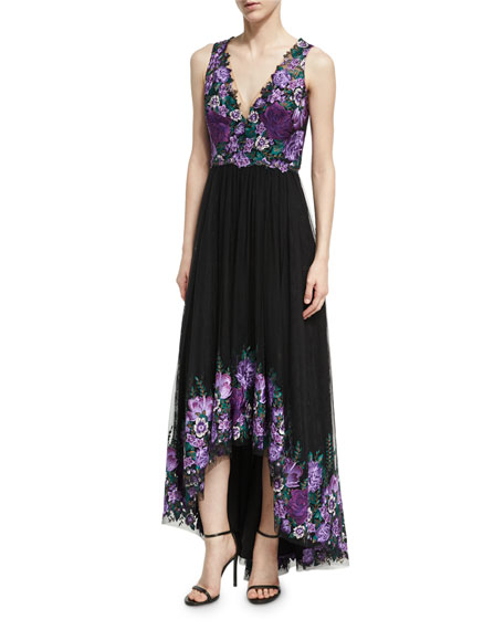 Marchesa Notte Sleeveless Embroidered High-Low Tulle Gown,