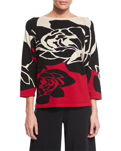 3/4-Sleeve Rose Intarsia Sweater, Plus Size