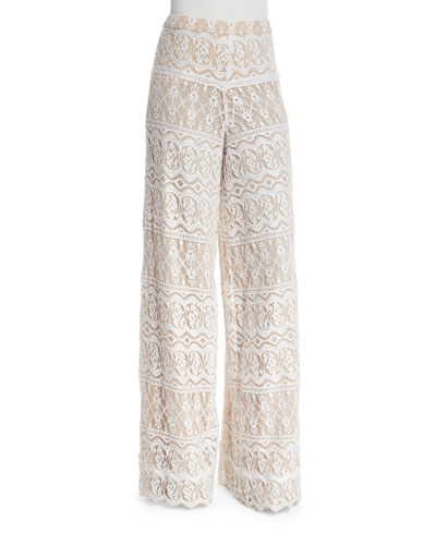 Athena Lace Super-Flared Pants, Cream