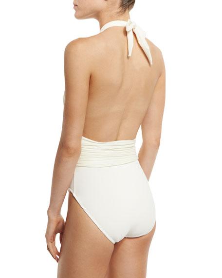 Pearl Goddess Halter One-Piece Swimsuit